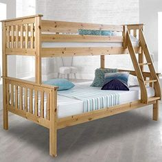 The Atlantis Solid Pine Wooden Triple Sleeper Bunk Bed is perfect for expanding your space and adding a unique style to your home, and is perfectly suitable for both adults and children. Ideal for children and guest bedrooms, the Atlantis Solid Pine W Triple Sleeper Bunk Bed, Triple Bunk Beds, Solid Wood Bunk Beds, Wooden Bunk Beds, Bunk Beds With Stairs, Kids Bunk Beds, Bunk Bed Designs, Headboard And Footboard, Loft Spaces
