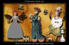 Scrapbooking - Digitaler Collage-Bogen: Verrückte Anziehpuppen - ein Designerstück von ValerianasStudio bei DaWanda