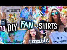 10 DIY Tumblr Inspired T-Shirts: FAN EDITION - Easy Graphic T-Shirt Ideas - YouTube