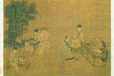 Moudre le thé, (c. 1174-1224), peinture sur soie, encre et couleurs légères, de Liu Songnian, Chine, époque Song (960-1279).