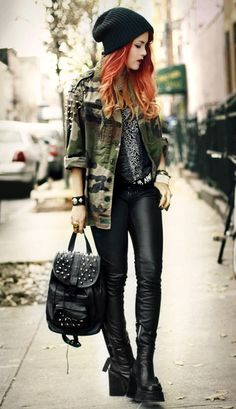 TREND: Grunge. 'Utility grunge; leather, studs and camo.'