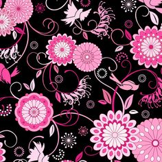 Musings ITB Fabric Tossed Tonal Pink Mod Floral Flowers with Birds on Black