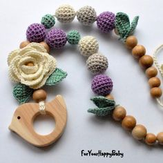 Mother and child / Teething necklace / by ForYourHappyBaby on Etsy