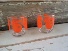 Retro Bright Orange Tumblers  Vintage Set Of by happydayantiques