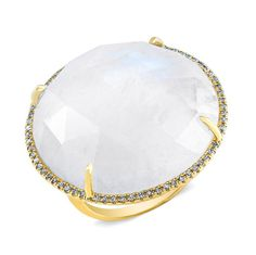 14KT Yellow Gold  Moonstone Diamond Cocktail Ring