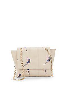 Too cute! Anguilla Bird-Print Faux Leather Shoulder Bag