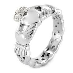 Stainless Steel Claddagh Ring with Celtic Knot Eternity Design (4mm) - Size 7, (claddagh ring, claddaugh ring, triskele knot, polished finish, sterling silver ring, engagement rings, irish, irish jewlery, love, sterling silver jewelry)