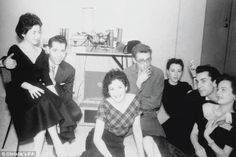 The gang's all here: Dean with Barbara Glenn, third from right, and friend Martin Landau, second from right