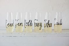 Personalized Stemless Champagne Flutes Glass or von RachelCarl, $8.00