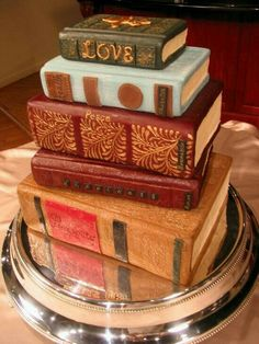 A book cake, by Michelle Bommarito; another idea for a groom's cake. Pretty Cakes, Cute Cakes, Beautiful Cakes, Amazing Cakes, Unique Cakes, Creative Cakes, Cake Cookies, Cupcake Cakes, Book Cakes