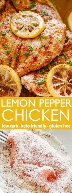 Lemon Pepper Chicken - Tender and delicious seared chicken breasts coated with a coconut flour and lemon pepper seasoning, and finished off with a simple garlic butter sauce. It's incredibly simple, made with pantry staples and is ready in just under 30 minutes! #ketorecipes #lowcarb #glutenfree #chickenrecipes Lemon Pepper Seasoning, Lemon Pepper Chicken, Seafood Recipes, Keto Recipes, Chicken Recipes, Garlic Butter Sauce, Chicken Tenders, Coconut Flour, Low Carb Keto