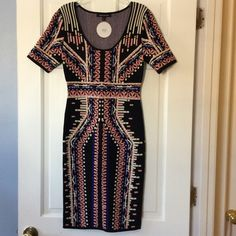 "‼️WEDS ONLY‼️HPJealous Tomato sweater dress Beautiful tribal print sweater dress is a rayon/nylon blend and has a back slit. Underarm across 14"". Length 38"". Bundle for even bigger savings! Offers welcome. No trades. Jealous Tomato Dresses Midi"