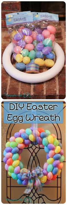 DIY Easter Egg Wreath. Super easy, inexpensive, and cute!