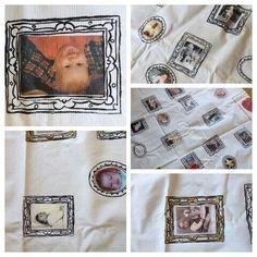 Tafelkleed 280cm/145cm. Zeefdruk met textielverf en baby foto's met transferpapier HEMA. Gemaakt voor bruiloft.