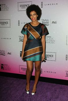 Solange rocking a geometric dress at 4th Annual Essence Black Women In MusicEvent.