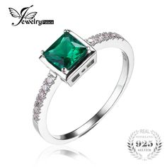 JewelryPalace Square 0.5ct Created Green Nano Russian Emerald Solitaire Ring 925 Sterling Silver Rings for Women Fine Jewelry