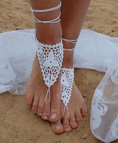 Häkeln barfuß Sandalen Hochzeit am Strand von luludress auf DaWanda.com