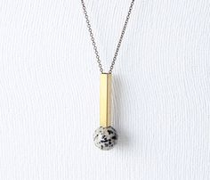 {Brass Geometric Necklace} Dalmation jasper + brass tube