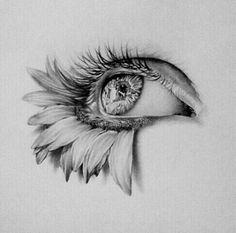 art, eye, flowers, drawing, sketch