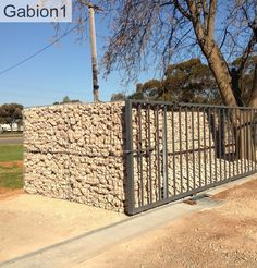 gabion security wall around construction yard  http://www.gabion1.com