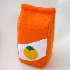 Felt Food Toy Orange Juice Carton by bugbitesplayfood on Etsy,