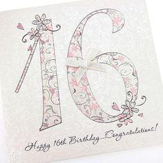Beautiful Handmade Chic Birthday Card 16th Birthday