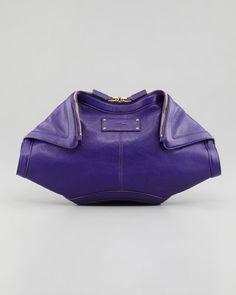 Alexander McQueen - De-Manta Leather Clutch Bag, Purple