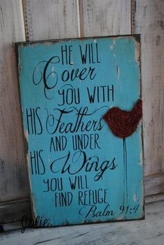 He will cover you with his feathers by JolieCustomWoodArt on Etsy