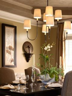 Dining Room Striking Candleliers With Small Lampshades Finished In Classic Design For Luxurious