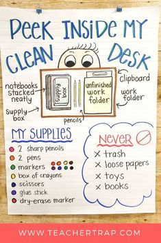 No More Messy Student Desks! Such simple tips for helping kids keep their work a… No More Messy Student Desks! Such simple tips for helping kids keep their work areas clean and neat. No more lost papers or missing supplies! Classroom Behavior, Future Classroom, School Classroom, Classroom Decor, 4th Grade Classroom Setup, New Teacher Classroom Ideas, Back To School Ideas For Teachers, Teacher Desk Decorations, Clean Classroom