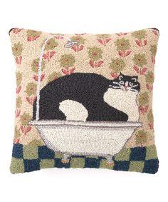 Look at this #zulilyfind! Flower Cat in a Tin Tub Hook Wool Pillow by Peking Handicraft #zulilyfinds