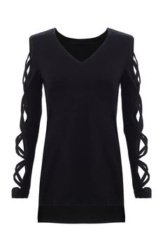 Long Sleeves T-shirt with Strappy Details -YOINS