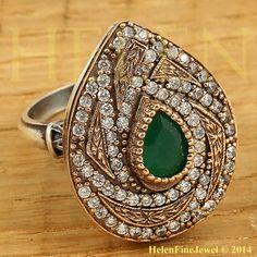 Hurrem Sultan Ring  Drop Shape Emerald Color by helenfinejewels
