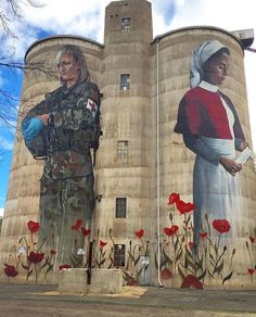 The Graincorp Devenish Silos near Benalla in regional Victoria commemorate the 50 young men & women from Devenish who enlisted in A stirring Anzac memorial created by artist Cam Scale Murals Street Art, Art Mural, Street Art Graffiti, Wall Art, Anzac Memorial, Remembrance Day Poppy, Aboriginal History, Art Optical, Grafiti