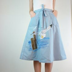 Bird Skirt / Wrap Skirt / Seagull Birds by jessjamesjake on Etsy, $46.00