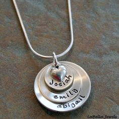 Three 'Layers of Love' Hand Stamped Personalized Custom Sterling Mommy Brag Family Children Necklace