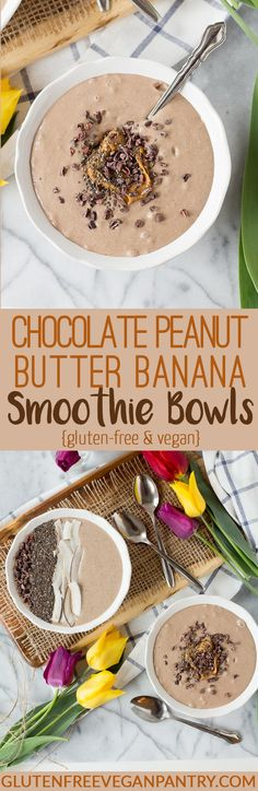 Chocolate Peanut Butter Banana Smoothie Bowls - Vegan + Gluten-free | glutenfreeveganpantry.com (Bake Treats Life)