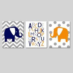 Elephant Nursery Art Trio  Set of Three 8x10 Prints  by Tessyla, $55.00