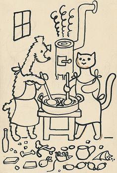 ako psíček a mačička piekli tortu omalovanku Coloring Books, Coloring Pages, French Kids, Illustration Art, Illustrations, My Roots, Baby Time, Painting Inspiration, Modern Art