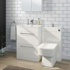Harbour Icon Compact Furniture Suite inc. Vanity & Basin and Toilet Unit - Gloss White Small Kitchen Sink, Bathroom Toilets, Toilet And Sink Unit, Toilet And Basin Unit, Back To Wall Toilets, Vanity Units, Sink Units, Basin, Luxury Toilet