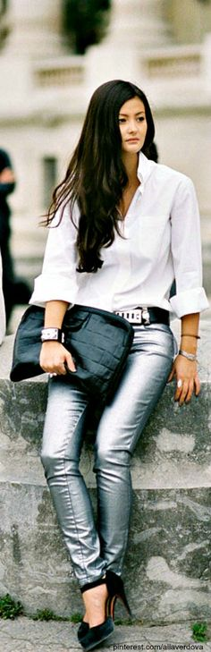 Street style- I have some metallic jeans  love them with the white blouse