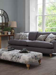 Verona sofa and Universal footstool from Multiyork Cute Living Room, Living Room Sofa Design, Living Room Decor, Couch Design, Furniture Inspiration, Room Inspiration, Period Living, Sofa Styling, Lounge Decor