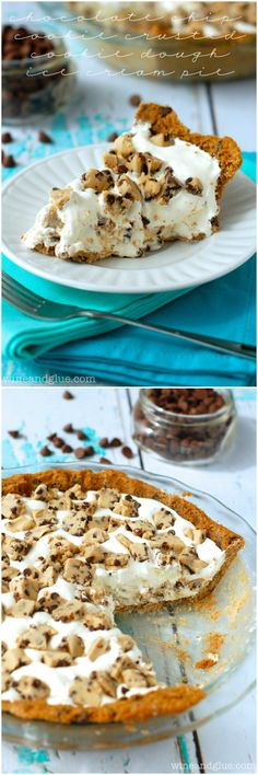 Chocolate Chip Cookie Crusted Cookie Dough Ice Cream Pie! | Cookie Dough Ice Cream filling! | www.wineandglue.com | Chocolate Chip Cookie Crust!