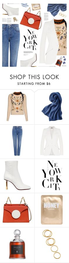 """white ankle boots"" by jesuisunlapin ❤ liked on Polyvore featuring RED Valentino, Uniqlo, 10 Crosby Derek Lam, Alexander McQueen, Vetements, Danse Lente, Lapcos, Gorjana, Jane Iredale and StreetStyle"