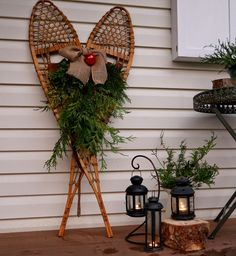 Fabric Paper Thread Snowshoes On The Porch Outdoor Christmas Decorations Rustic