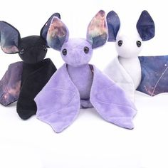 Flying to you straight from outer space, this galaxy bat stuffed animal is part science fiction and part snuggles. Each plush is made with soft minky or fleece