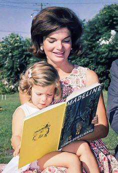 "Jackie Kennedy reading ""Madeleine"" to little Caroline."