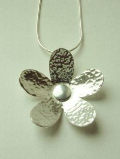 Handmade Silver flower pendant