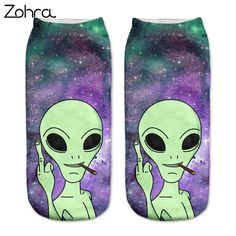 Zohra 2016 New arrival  Women's Girls Low Cut Ankle Socks Funny Aliens 3D Printing sock Cotton Hosiery Printed Sock