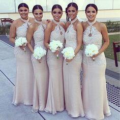 Halter Lace Top Sexy Mermaid Long Elegant Cheap Floor Length Wedding Bridesmaid Dresses, WG138